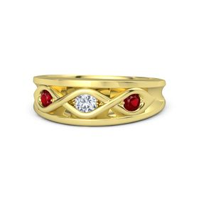 Round Diamond 14K Yellow Gold Ring with Ruby