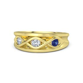 Round Diamond 14K Yellow Gold Ring with Blue Sapphire and Diamond