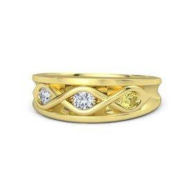 Round Diamond 14K Yellow Gold Ring with Yellow Sapphire and Diamond