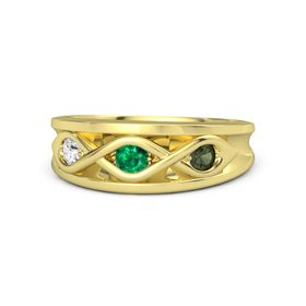 Round Emerald 14K Yellow Gold Ring with Green Tourmaline and White Sapphire