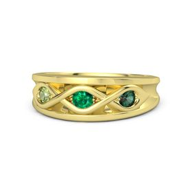 Round Emerald 14K Yellow Gold Ring with Alexandrite and Peridot
