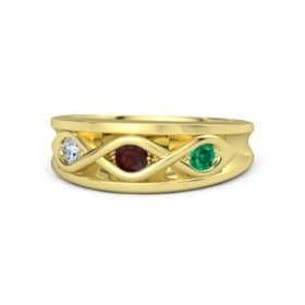 Round Red Garnet 14K Yellow Gold Ring with Emerald and Diamond