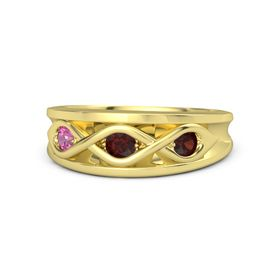 Round Red Garnet 14K Yellow Gold Ring with Red Garnet and Pink Tourmaline