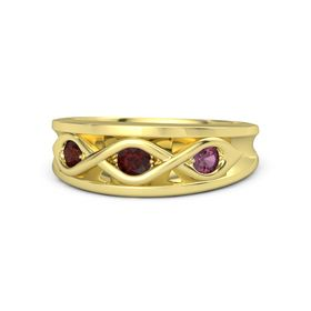 Round Red Garnet 14K Yellow Gold Ring with Rhodolite Garnet & Red Garnet