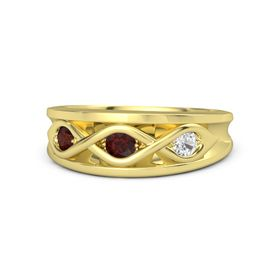 Round Red Garnet 14K Yellow Gold Ring with White Sapphire and Red Garnet