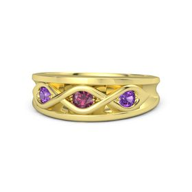 Round Rhodolite Garnet 14K Yellow Gold Ring with Amethyst