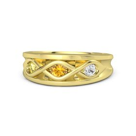 Round Citrine 14K Yellow Gold Ring with White Sapphire and Yellow Sapphire