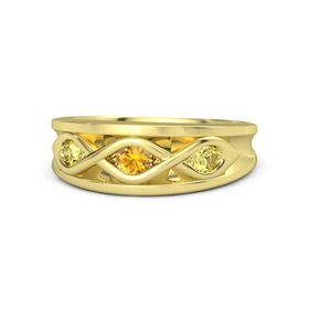 Round Citrine 14K Yellow Gold Ring with Yellow Sapphire