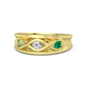 Round White Sapphire 14K Yellow Gold Ring with Emerald and Peridot