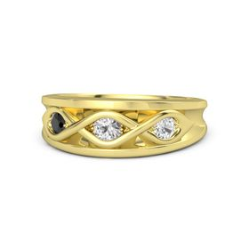 Round White Sapphire 14K Yellow Gold Ring with White Sapphire and Black Diamond
