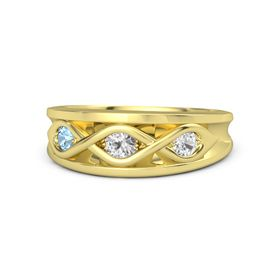Round White Sapphire 14K Yellow Gold Ring with White Sapphire and Blue Topaz