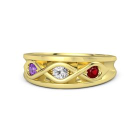 Round White Sapphire 14K Yellow Gold Ring with Ruby and Amethyst