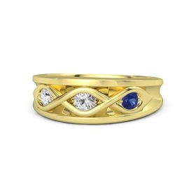 Round White Sapphire 14K Yellow Gold Ring with Blue Sapphire and White Sapphire