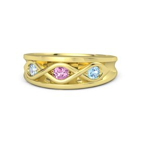 Round Pink Sapphire 14K Yellow Gold Ring with Blue Topaz and Aquamarine