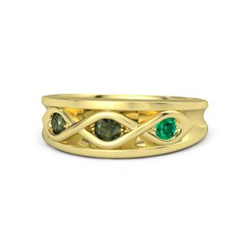 Round Green Tourmaline 14K Yellow Gold Ring with Emerald & Green Tourmaline