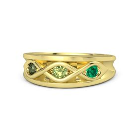 Round Peridot 14K Yellow Gold Ring with Emerald and Green Tourmaline