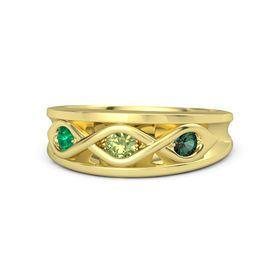 Round Peridot 14K Yellow Gold Ring with Alexandrite and Emerald