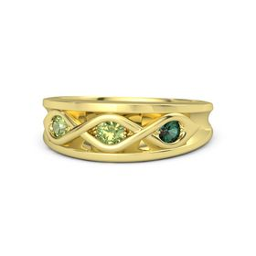 Round Peridot 14K Yellow Gold Ring with Alexandrite and Peridot