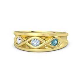 Round Aquamarine 14K Yellow Gold Ring with London Blue Topaz and White Sapphire