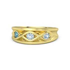 Round Aquamarine 14K Yellow Gold Ring with Aquamarine and London Blue Topaz