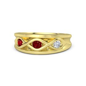 Round Ruby 14K Yellow Gold Ring with Diamond & Ruby