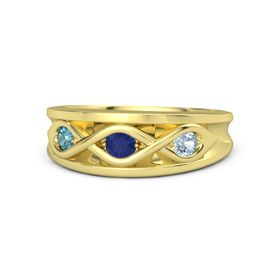 Round Sapphire 14K Yellow Gold Ring with Aquamarine & London Blue Topaz