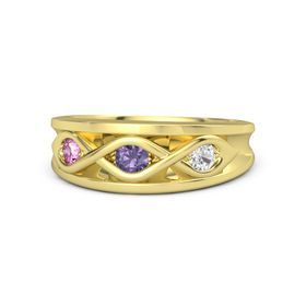 Round Iolite 14K Yellow Gold Ring with White Sapphire and Pink Sapphire