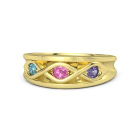 Round Pink Tourmaline 14K Yellow Gold Ring with Iolite and London Blue Topaz