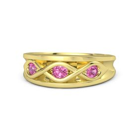 Round Pink Tourmaline 14K Yellow Gold Ring with Pink Tourmaline