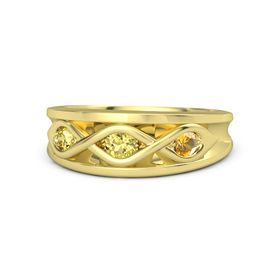Round Yellow Sapphire 14K Yellow Gold Ring with Citrine and Yellow Sapphire