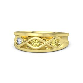 Round Yellow Sapphire 14K Yellow Gold Ring with Yellow Sapphire and Diamond