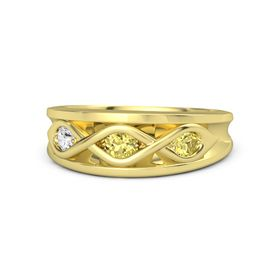 Round Yellow Sapphire 14K Yellow Gold Ring with Yellow Sapphire and White Sapphire