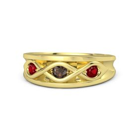 Round Smoky Quartz 14K Yellow Gold Ring with Ruby