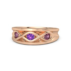Round Amethyst 18K Rose Gold Ring with Rhodolite Garnet