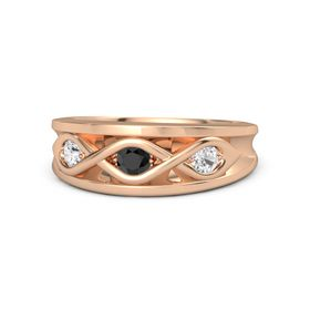 Round Black Diamond 18K Rose Gold Ring with White Sapphire