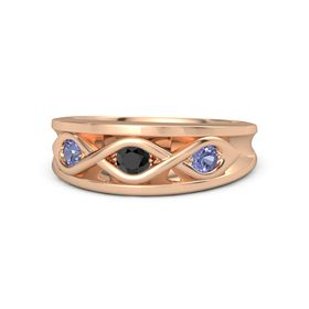 Round Black Diamond 18K Rose Gold Ring with Tanzanite
