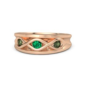 Round Emerald 18K Rose Gold Ring with Green Tourmaline