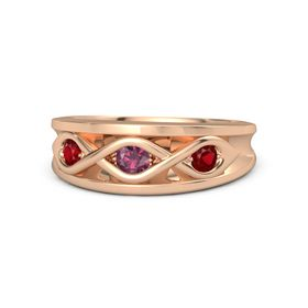Round Rhodolite Garnet 18K Rose Gold Ring with Ruby
