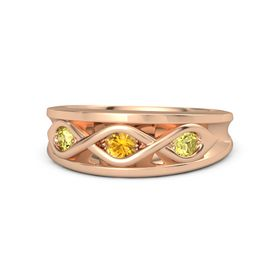 Round Citrine 18K Rose Gold Ring with Yellow Sapphire