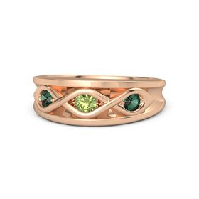 Round Peridot 18K Rose Gold Ring with Alexandrite