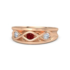 Round Ruby 18K Rose Gold Ring with Diamond