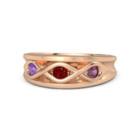 Round Ruby 18K Rose Gold Ring with Rhodolite Garnet and Amethyst