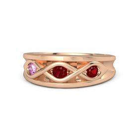 Round Ruby 18K Rose Gold Ring with Ruby and Pink Sapphire