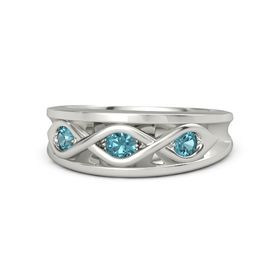 Round London Blue Topaz 18K White Gold Ring with London Blue Topaz