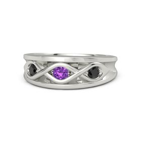 Round Amethyst 18K White Gold Ring with Black Diamond