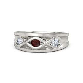 Round Red Garnet 18K White Gold Ring with Diamond