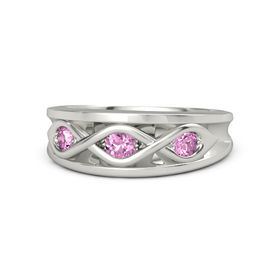 Round Pink Sapphire 18K White Gold Ring with Pink Sapphire