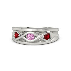 Round Pink Sapphire 18K White Gold Ring with Ruby