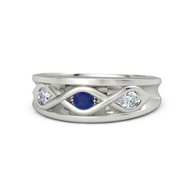 Round Blue Sapphire 18K White Gold Ring with Diamond