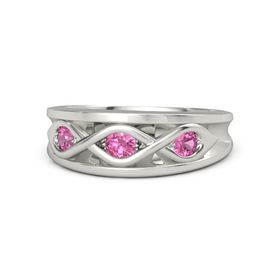 Round Pink Tourmaline 18K White Gold Ring with Pink Tourmaline